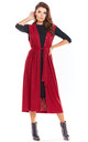 Long Vest Tied at Waist in Claret by AWAMA