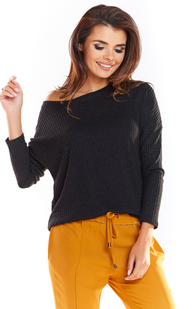 Loose Asymetric Sweater in Black by AWAMA
