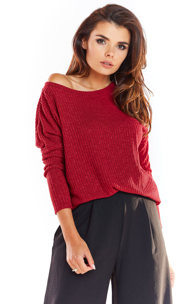 Loose Asymetric Sweater in Claret by AWAMA