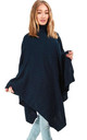 Alissia Roll Neck Knitted Poncho In Navy by Oops Fashion