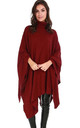 Alissia Roll Neck Knitted Poncho In Wine by Oops Fashion