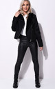 Faux Suede Faux Fur Lined Crop Biker Jacket Black by LILY LULU FASHION
