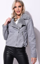 Suede Faux Fur Lined Biker Jacket Grey by LILY LULU FASHION