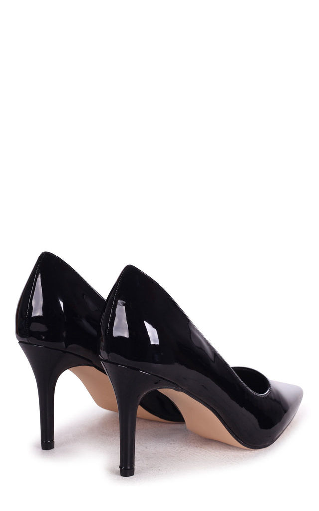 Fairground Pointed Court Shoe in Black Patent by Linzi