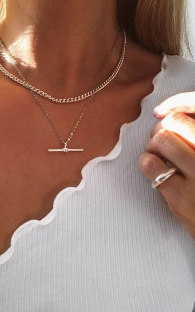 Sterling Silver Necklace with T-Bar by Ammé London Jewellery