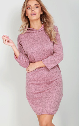 Hooded Sweater Dress In Dusty Pink Marl by Oops Fashion