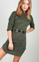 Hooded Sweater Dress In Khaki Marl by Oops Fashion