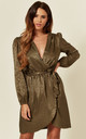Khaki Leopard Jacquard Satin Wrap Dress by Love