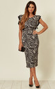 Emily Zebra Print Ruffle Sleeve Midi Dress by WalG