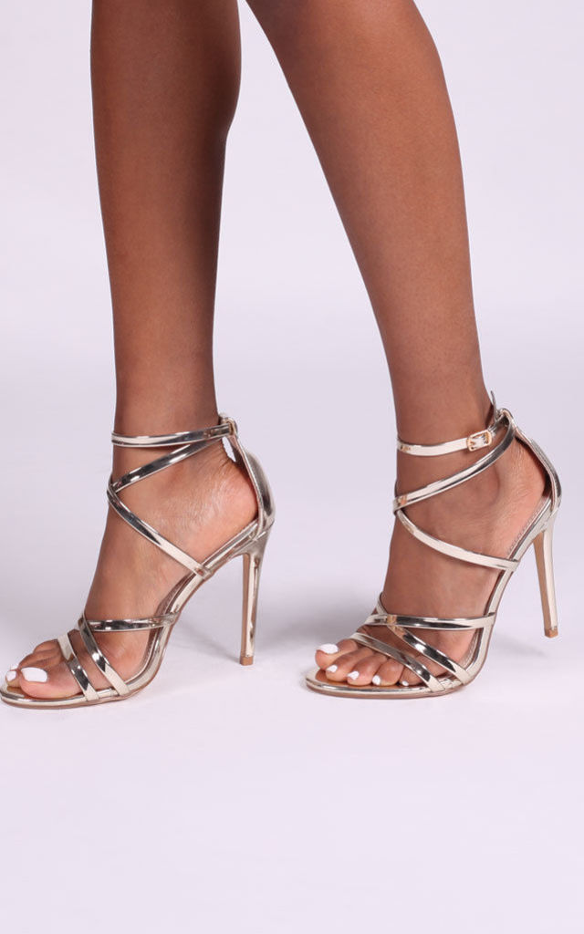 Jennifer Strappy Stiletto Heels in Gold by Linzi