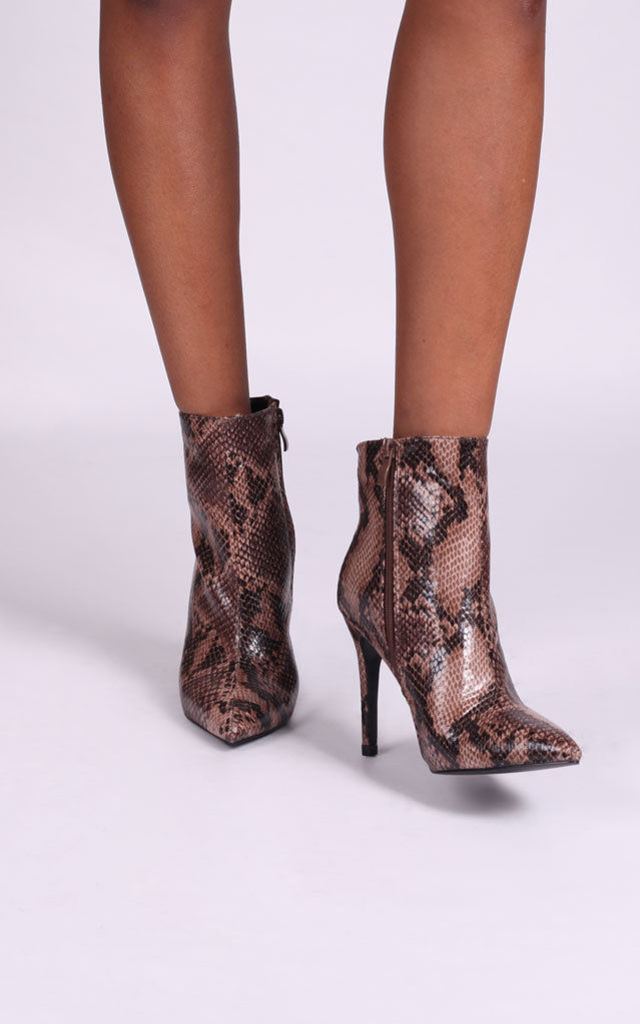 Jasmin Pointed Stiletto Boots in Brown Snake by Linzi