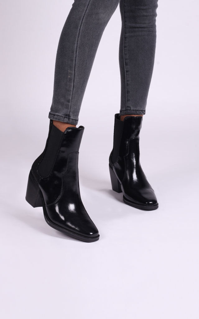 Mindy Square Toe Cowboy Boots in Black Nappa/Snake by Linzi
