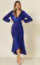 Wrap front long sleeve dress in cobalt blue by FLOUNCE LONDON