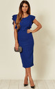 Emily Electric Blue Frill Sleeved Midi Dress by WalG
