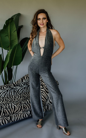 Plunge O-Ring Jumpsuit in Lurex by Get Crooked