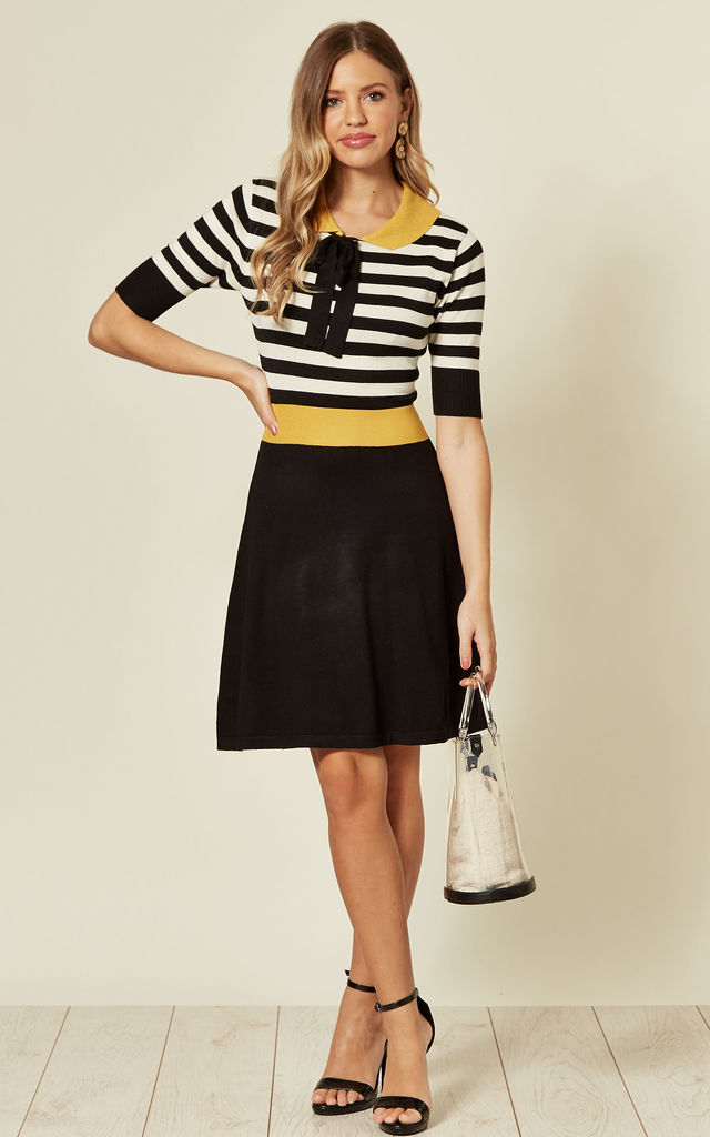 Flared Knit Dress with Black/White Stripes by Voodoo Vixen