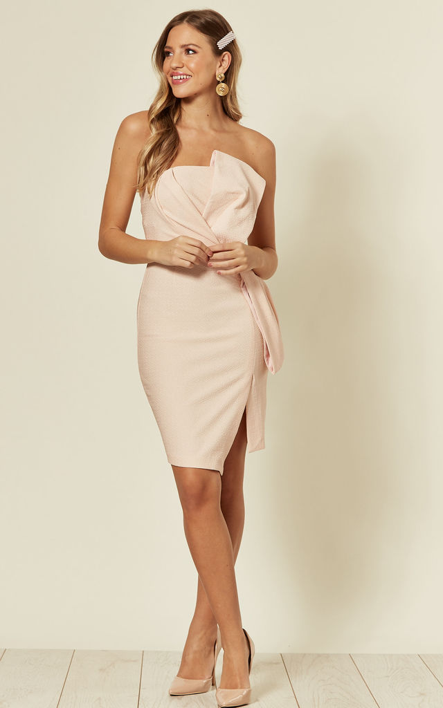 Strapless Origami Pencil Dress in Pink by Mellie
