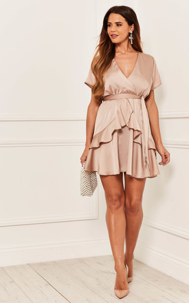 Silky Mini Dress With Peplum Detail In Dusty Pink by Bella and Blue Product photo