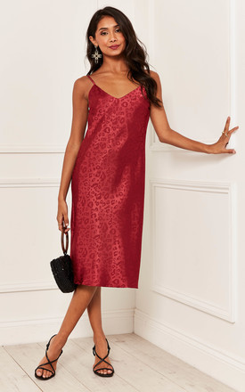 Jacquard Leopard Cami Midi Dress In Burgundy by Bella and Blue Product photo