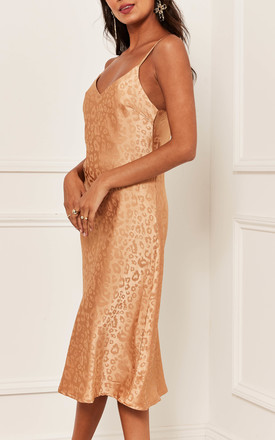 Jacquard Leopard Cami Midi Dress in Gold by Bella and Blue