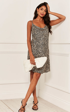 Mini Cami Dress With Cowl Neck In Leopard by Bella and Blue Product photo