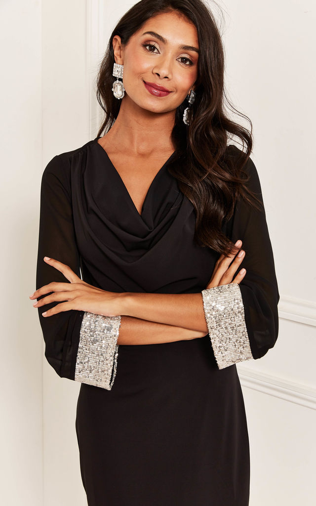 Cowl Neck Sequin Trim Dress in Black by Bella and Blue