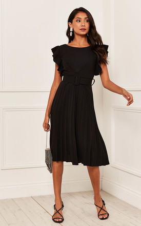 Pleated Flutter Sleeve Midi Dress In Black by Bella and Blue Product photo