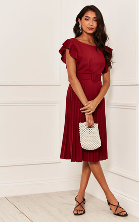 Pleated Flutter Sleeve Midi Dress In Burgundy by Bella and Blue Product photo