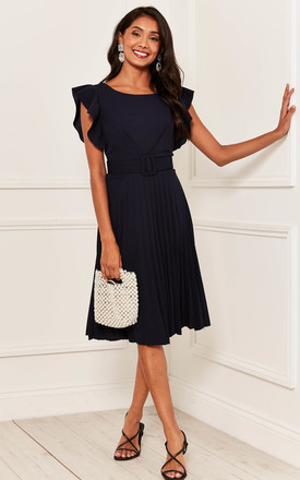 Pleated Flutter Sleeve Midi Dress In Navy by Bella and Blue Product photo