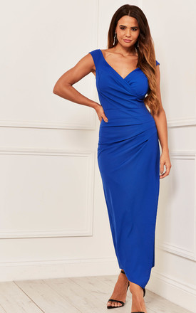 Off The Shoulder Ruched Maxi Dress In Royal Blue by Bella and Blue Product photo