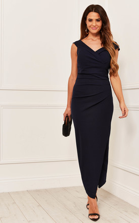 Off The Shoulder Ruched Maxi Dress In Navy by Bella and Blue Product photo