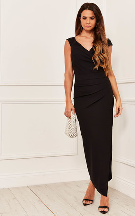 Off The Shoulder Ruched Maxi Dress In Black by Bella and Blue Product photo