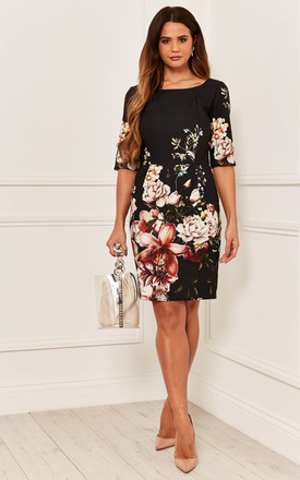 Shift Dress With Half Sleeve In Black Floral by Bella and Blue Product photo