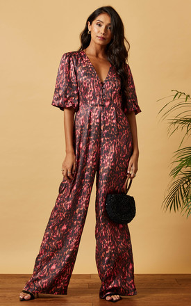 Satin Jumpsuit With Buttons & Puff Sleeve In Pink Animal Print by Phoenix & Feather Product photo