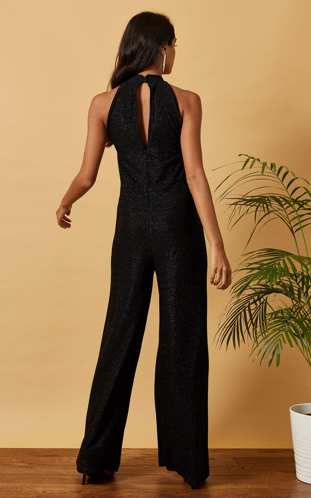 Choker Neck Sparkly Jumpsuit in Black by Phoenix & Feather