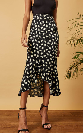 MIDI SKIRT WITH FRILL HEM IN BLACK / WHITE LEOPARD PRINT by Phoenix & Feather