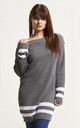 Jessica Striped Off Shoulder Jumper In Grey Marl by Oops Fashion