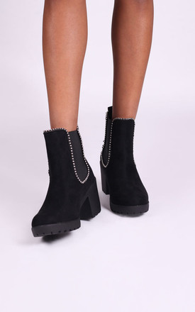 Summit Black Suede Chunky Chelsea Style Boot With Studded Detail by Linzi
