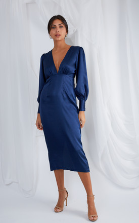 Tatum Plunge Midi Dress   Navy by Pretty Lavish Product photo