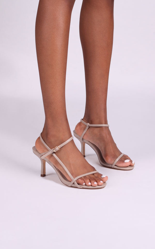 Liliya Strappy Low Heel in Taupe by Linzi