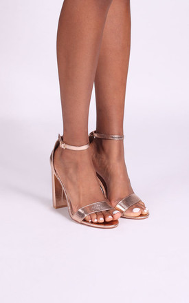 Amy Barely There Block Heels in Rose Gold Cracked Nappa by Linzi