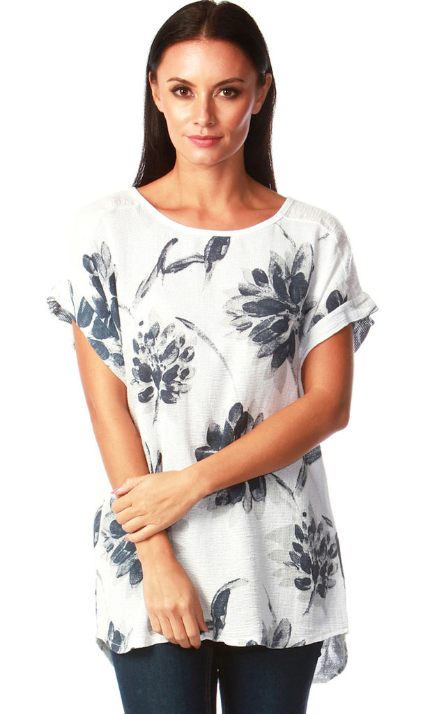 Felicity White Floral Chiffon Top with Sequins by Want That Trend