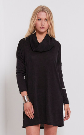 Emma Cowl Neck Knitted Dress In Black by Oops Fashion