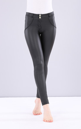 Mid Waist Freddy Trousers In Black Faux Leather by Freddy Product photo
