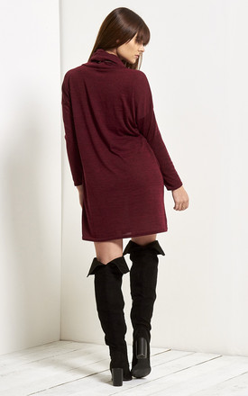 Emma Cowl Neck Knitted Dress In Wine by Oops Fashion