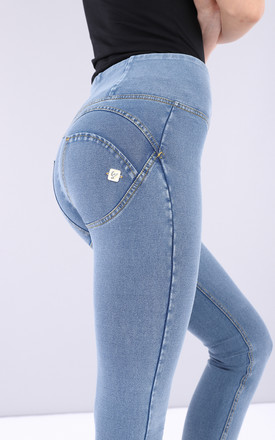 High Waisted Freddy Jeans In Light Wash Denim Effect by Freddy Product photo