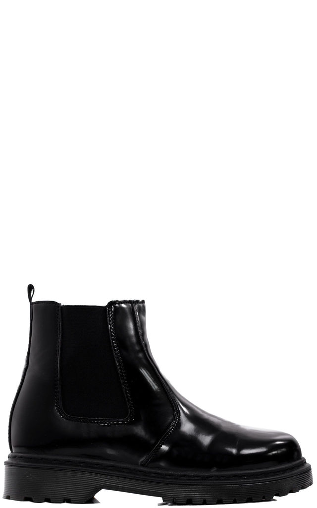 Oceanaholic Flat Chelsea Ankle Boots - Black Patent by SpyLoveBuy