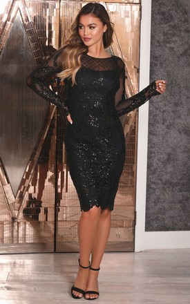 Fayre Black Sequin Dress With Mesh Sleeves by Sistaglam Product photo