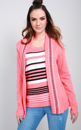 Sarah Cardigan In Pink Stripe by Oops Fashion