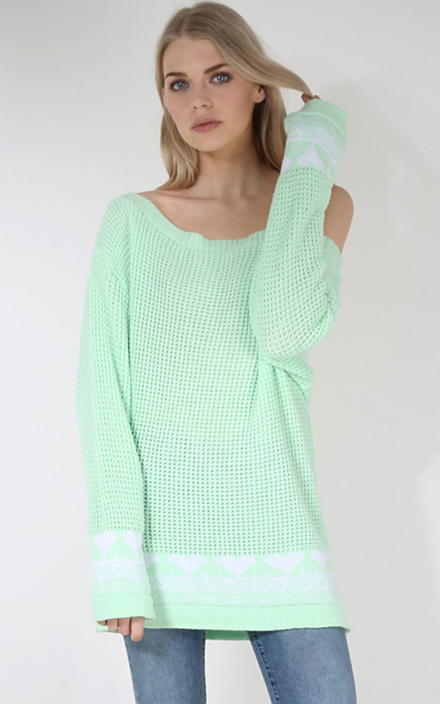 Amber Heart Print Jumper Top In Apple Green by Oops Fashion